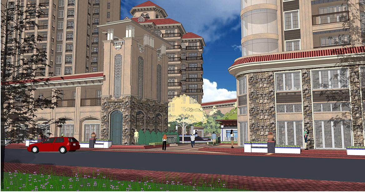 恩平市温泉里景观规划设计方案透视图一