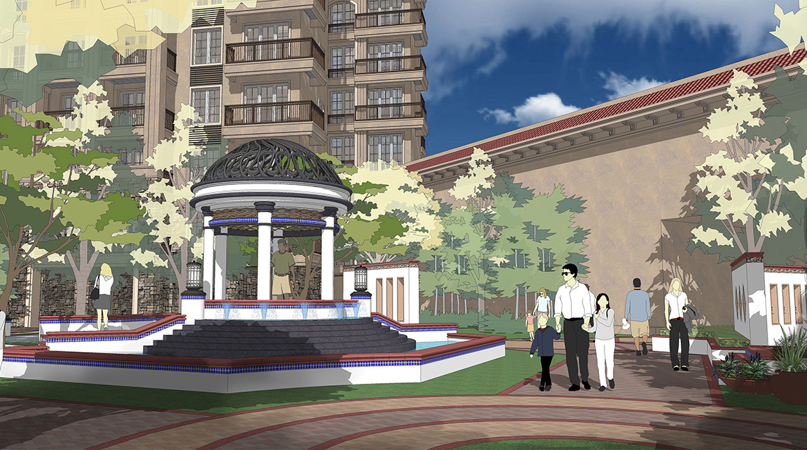 恩平市温泉里景观规划设计方案透视图二