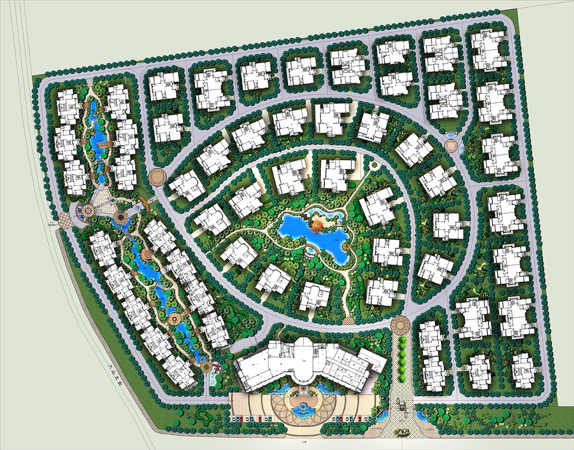 金灿御水碧园温泉小区景观设计方案总平面图