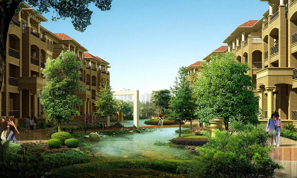 金灿御水碧园温泉小区景观设计方案4层洋房景观效果