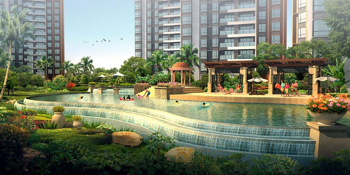 东莞万科香树丽舍小区景观设计泳池节点效果