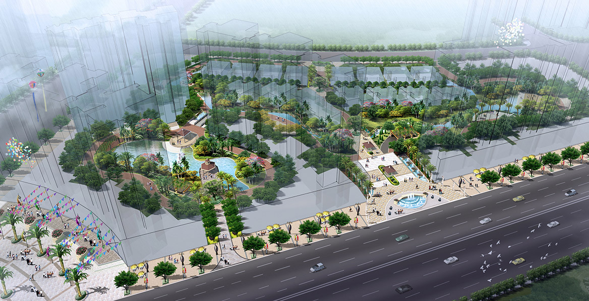 清远市富景天下景观方案设计南区鸟瞰图