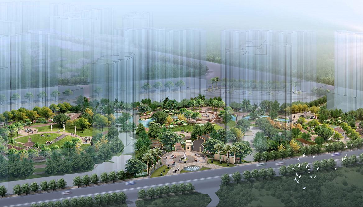 清远市富景天下景观方案设计中区鸟瞰图