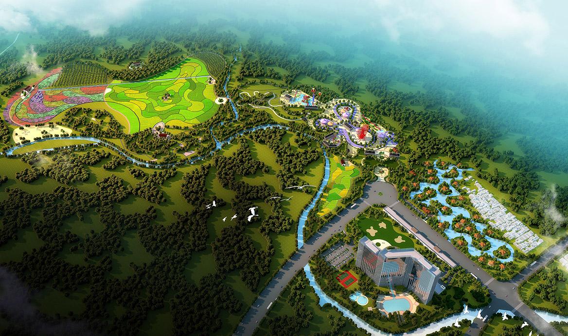 碧森旅游度假中心规划设计总体鸟瞰图