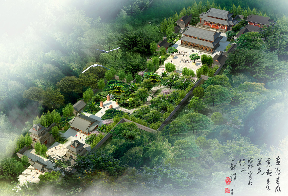 龙浮寺整体鸟瞰图
