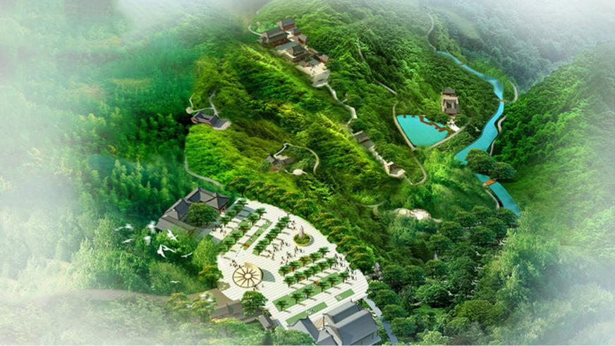 德庆大广山六祖文化景区整体鸟瞰图