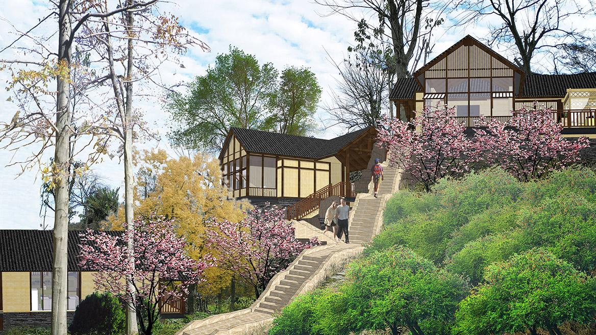 张家界悬崖花开养生谷总体规划设计效果图4