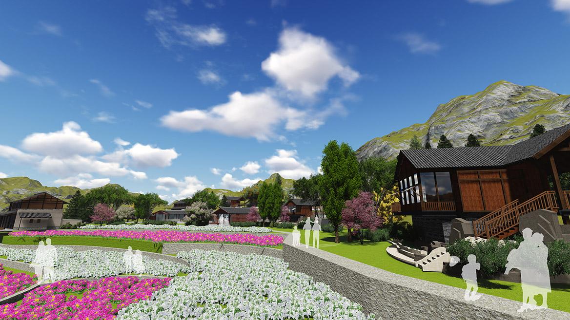 张家界悬崖花开养生谷总体规划设计效果图5