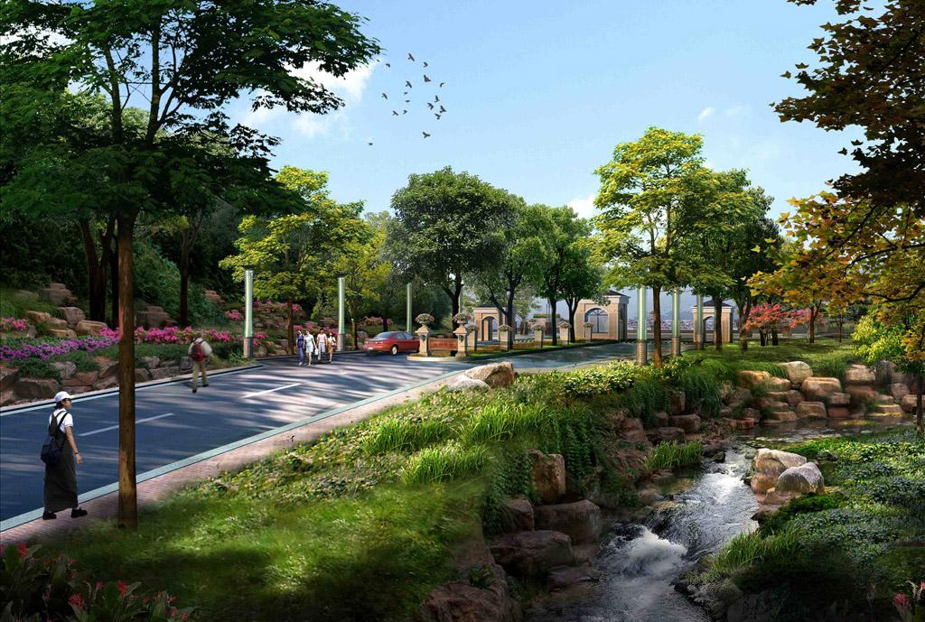 流水景观设计效果图
