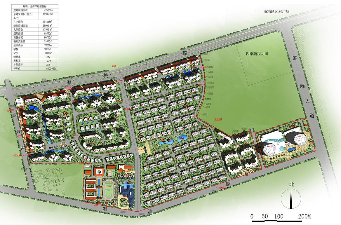 茂名锦绣金海岸概念性规划方案总平面图
