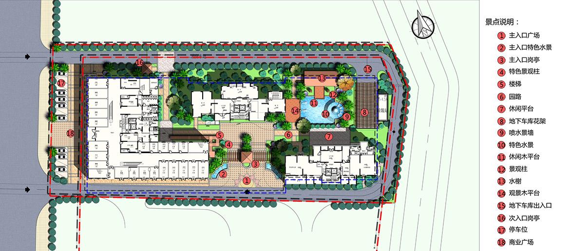 东莞市嘉盈商务大厦二期景观方案设计方案总平面图