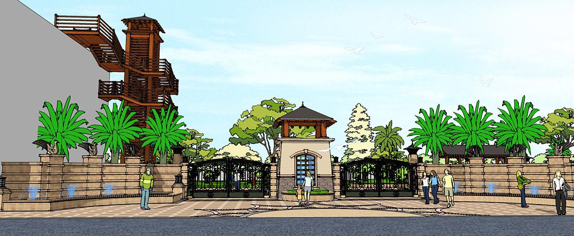 东莞市嘉盈商务大厦二期景观方案设计透视效果图一