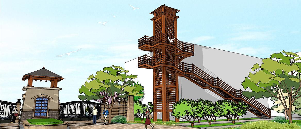 东莞市嘉盈商务大厦二期景观方案设计透视效果图二