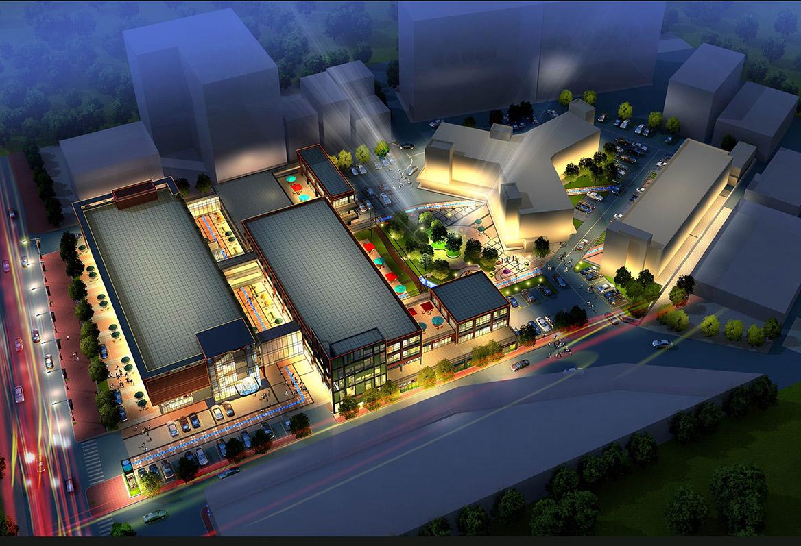 榕树下体验广场景观设计方案夜景鸟瞰图