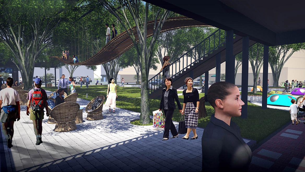榕树下体验广场景观设计方案节点效果图三