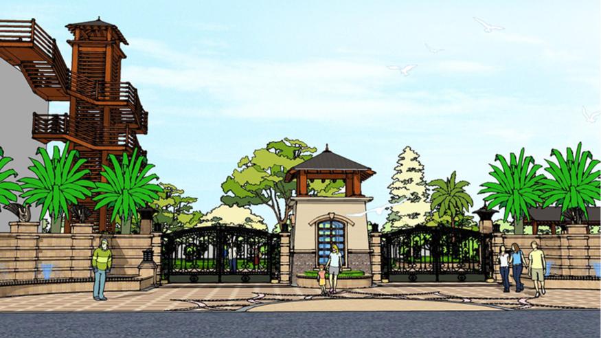 东莞市嘉盈商务大厦二期景观方案设计透视效果图