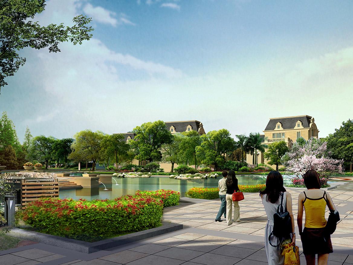 赤壁.印象酒店区、三号公馆别墅区园林景观中心花园透视图