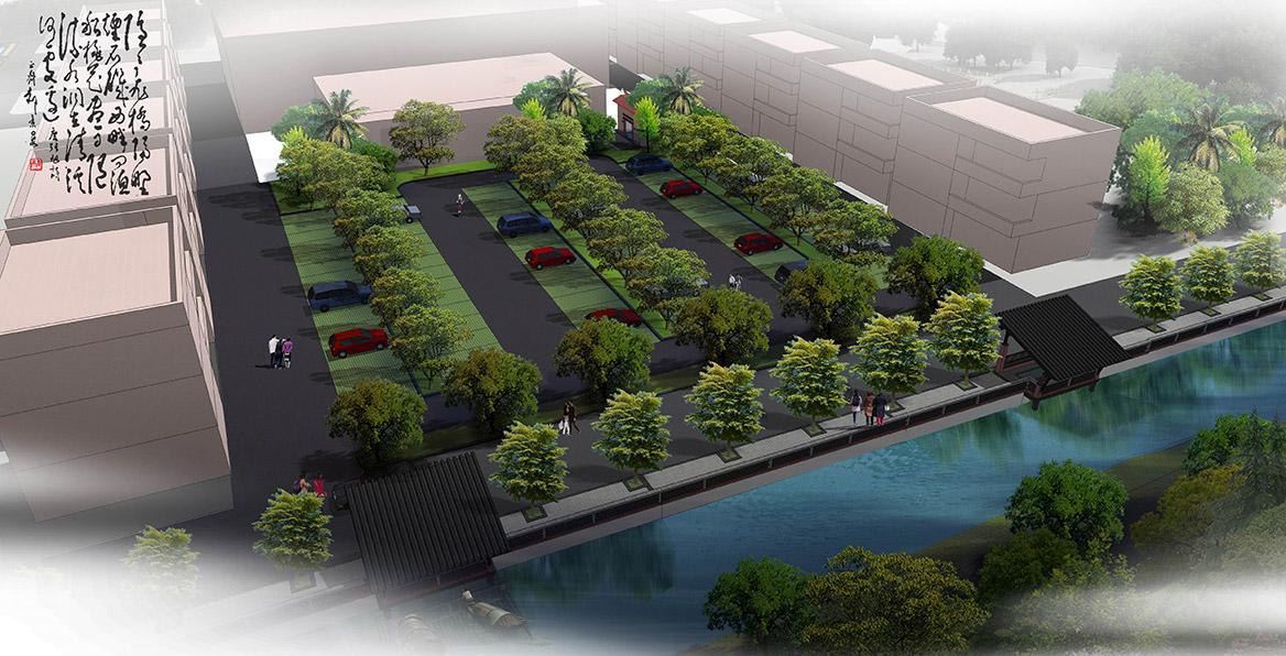 洪梅镇乌沙村村庄规划设计市场后小休闲公园节点设计总体效果图