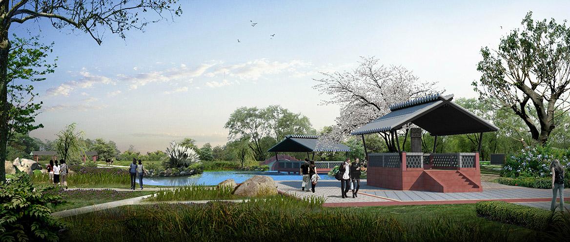 洪梅镇乌沙村村庄规划设计纪念公园节点效果图一