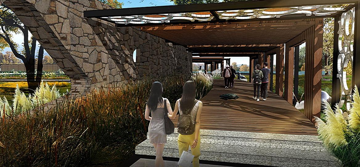 洪梅镇乌沙村村庄规划设计纪念公园节点效果图三