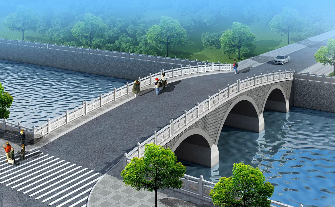 洪梅镇乌沙村村庄规划设计新建桥效果图