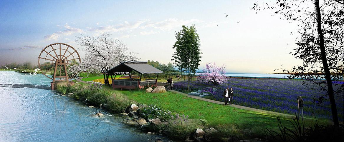 洪梅镇乌沙村村庄规划设计新洲仔绿岛公园效果图二