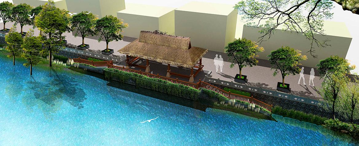 洪梅镇梅沙村特色村庄塑造工程项目整体规划凉棚效果图三