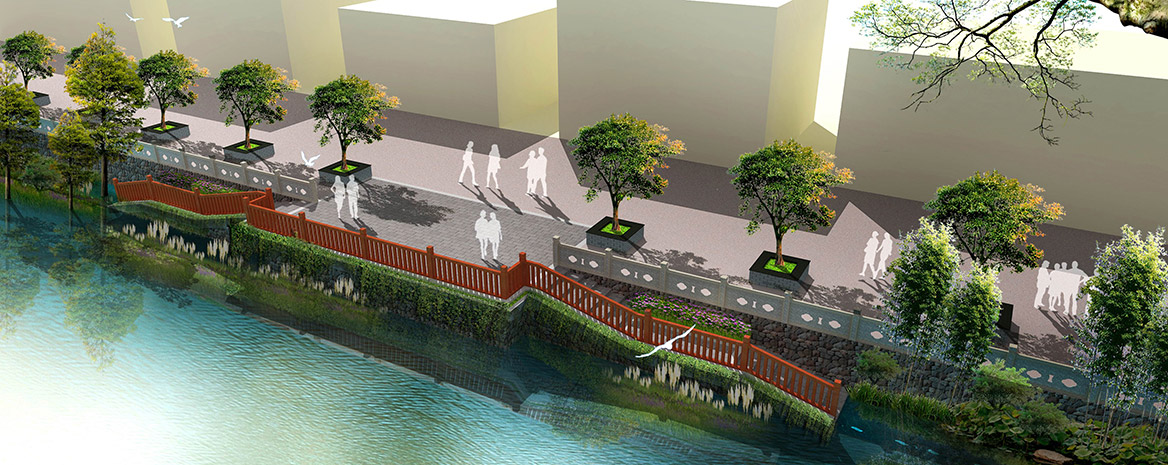 洪梅镇梅沙村特色村庄塑造工程项目整体规划景观驳岸效果图