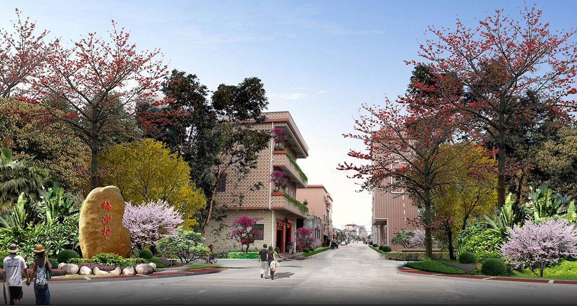洪梅镇梅沙村特色村庄塑造工程项目整体规划入口大门效果图