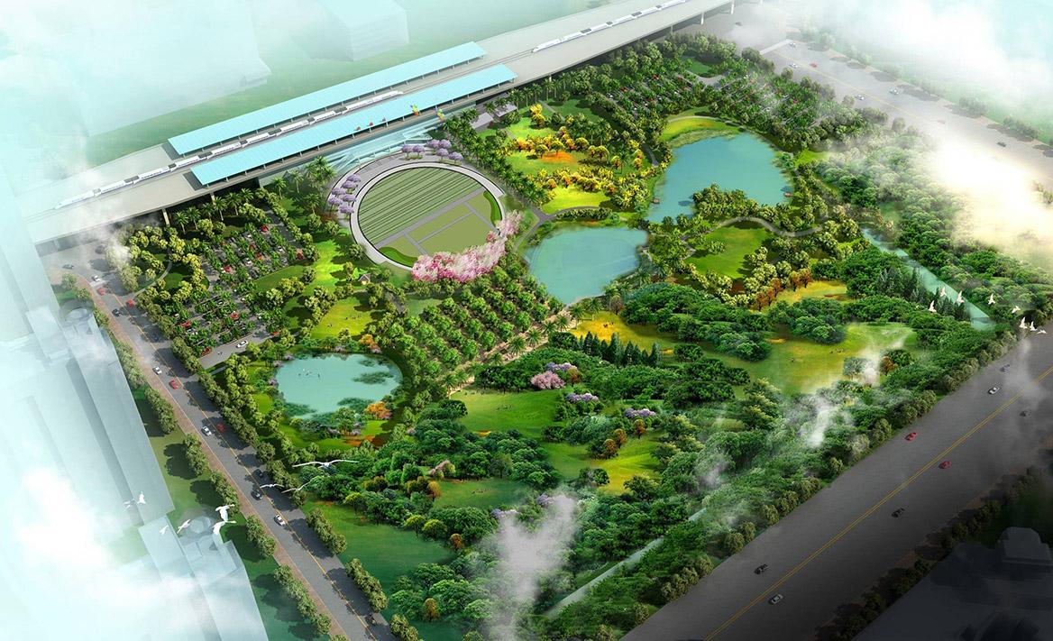 洪梅站前绿化公园景观设计图片1
