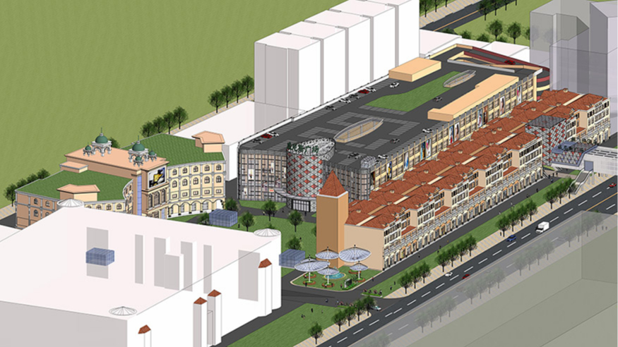 东莞愉景威尼斯商业广场改造规划设计鸟瞰图