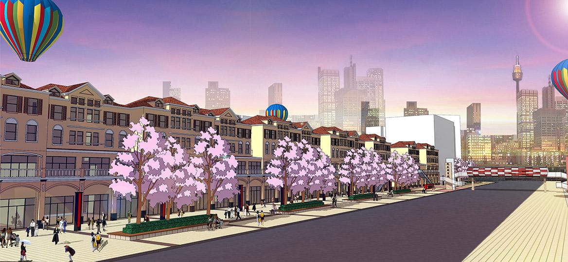 东莞愉景威尼斯商业广场改造规划设计临街透视图