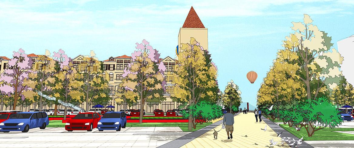 东莞愉景威尼斯商业广场改造规划设计透视图