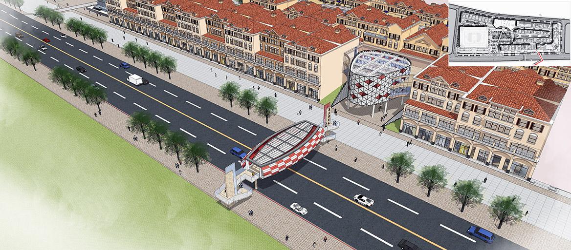 东莞愉景威尼斯商业广场改造规划设计天桥及商业入口透视