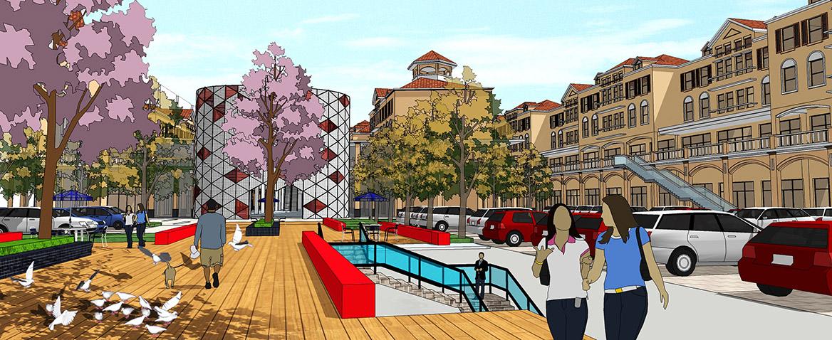 东莞愉景威尼斯商业广场改造规划设计B区透视图四
