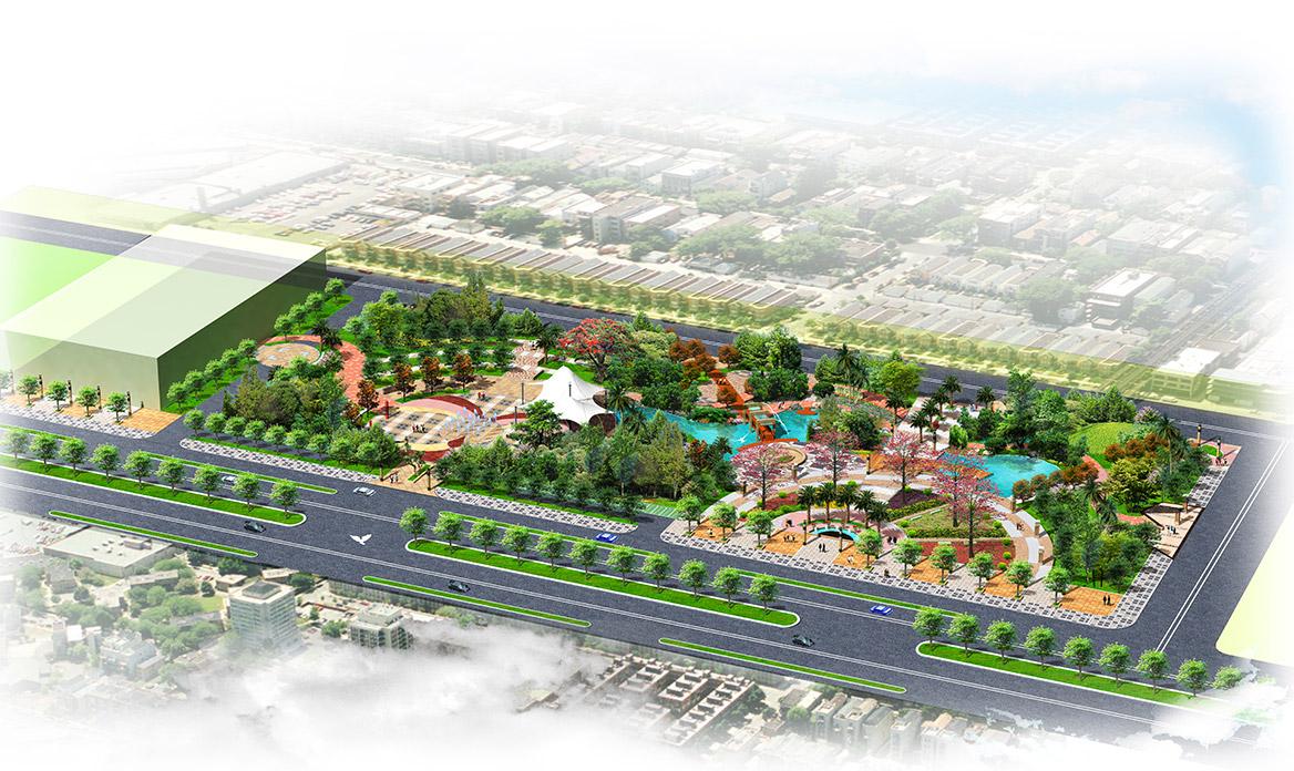 德庆县市政中心广场景观方案设计鸟瞰图