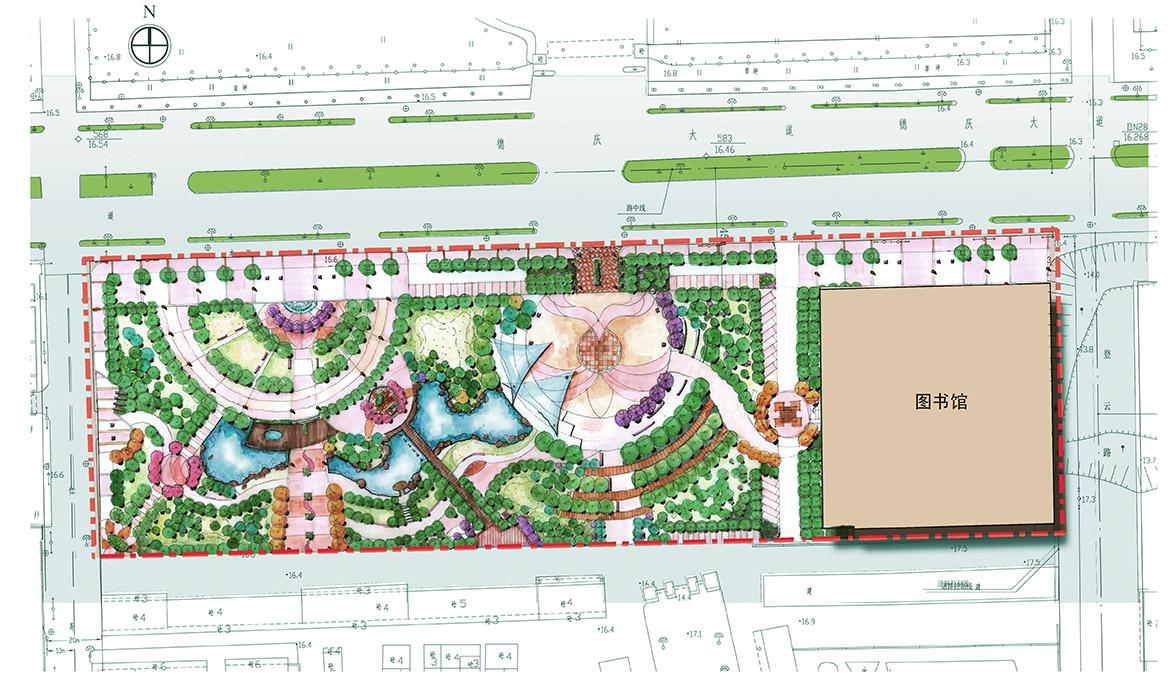德庆县市政中心广场景观方案设计总平面图