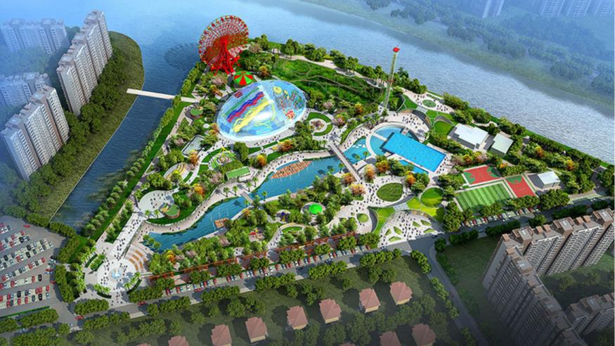 东莞市樟木头滨江水上世界主题公园规划方案鸟瞰图